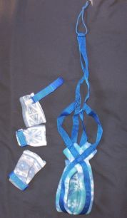 Blue w/ Snowflake Print Padding Harness & 3 Booties