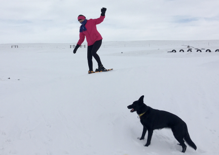 Marna Snowshoeing Drift, Texas Tea in front 2016-12-27