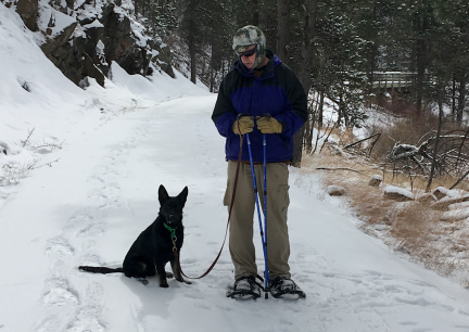 Tabaliah with Deron Snowshoeing Mickelson Trail 2017-02-25