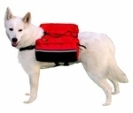 White GSD Red Backpack